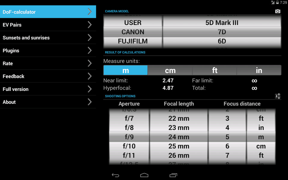 DOF-android-app